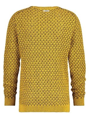 A Fish Named Fred Yellow navy structure knit jumper