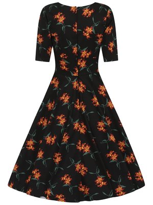 Collectif Trixie Midnight Lily Swing Dress