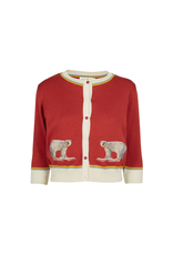 Palava Rust Embroidered Polar Bear  Cardigan