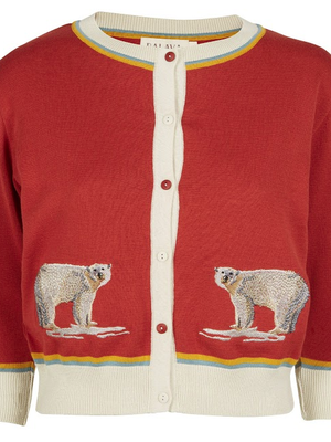 Palava Rust Embroidered Polar Bear  Cardigan