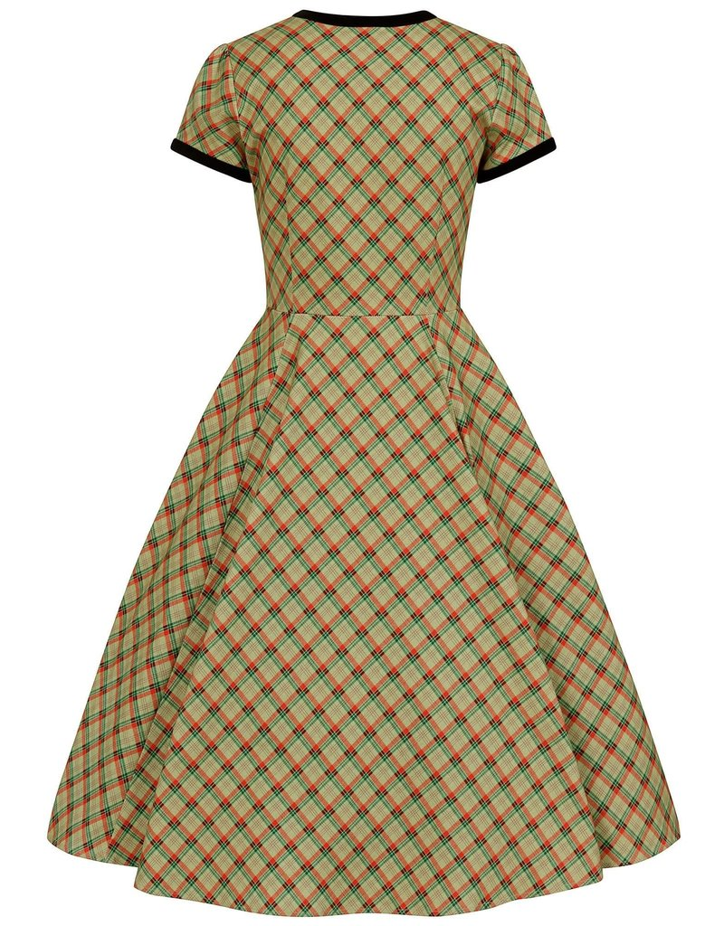 Collectif Meredy Holiday Check Flared Dress