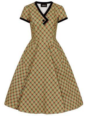 Collectif Meredy Holiday Check wijd uitlopende jurk