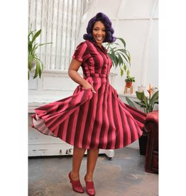 Collectif Caterina Midnight Stripe Swing Dress