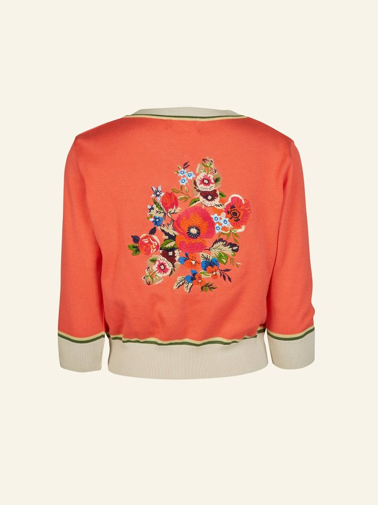 Palava Coral Floral Corsage cardigan