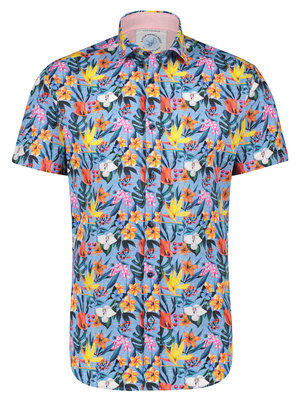 A Fish Named Fred Floral Blue shirt shot sleeves