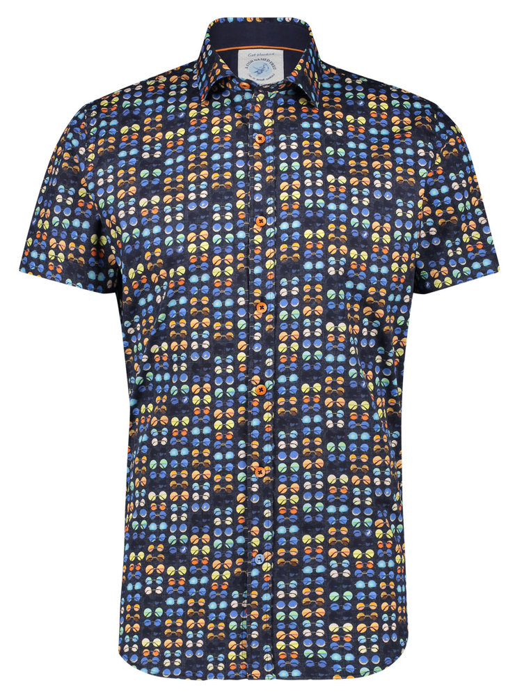 A Fish Named Fred Hippie Glasses shirt Navy short sleeves