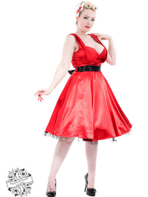 Hearts & Roses 50s Satin swing dress - Red