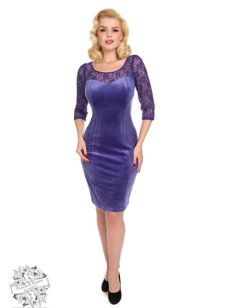 Hearts & Roses Barbara velvet wiggle dress - purple