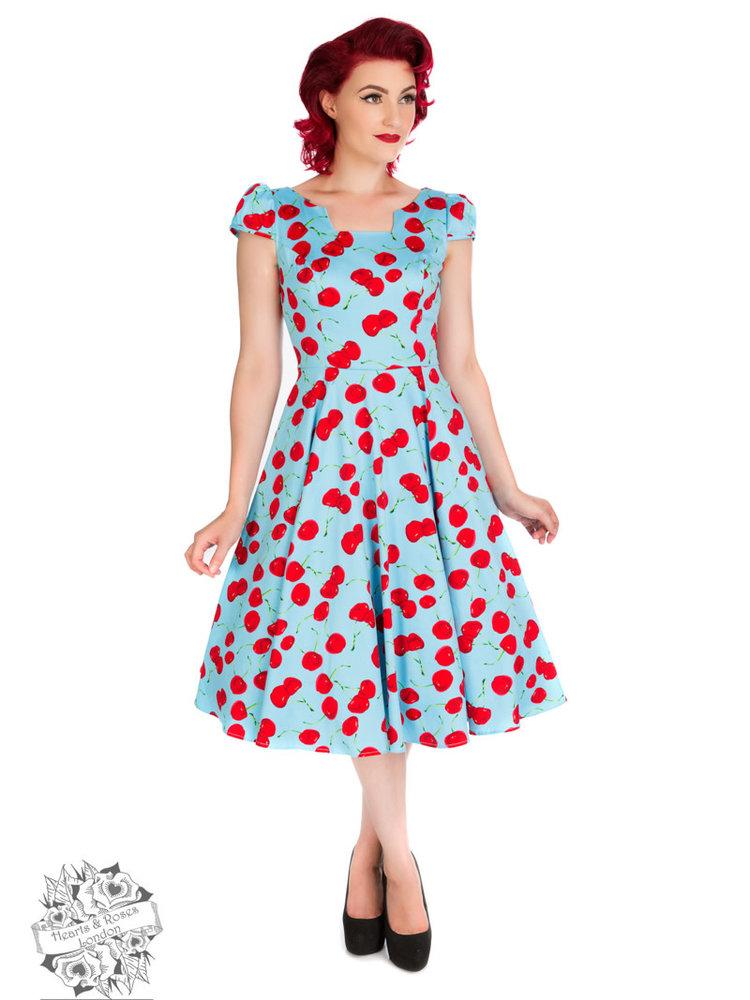 Hearts & Roses Blue Bombshell Cherry Tea Dress