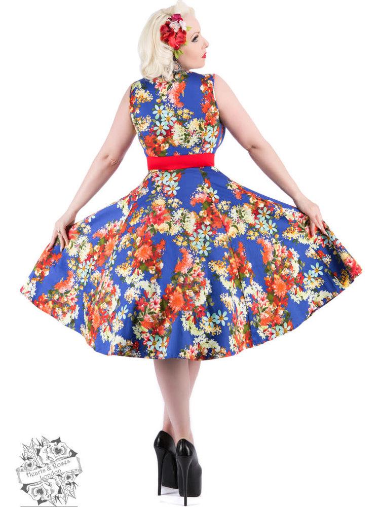 Hearts & Roses Royal Blue 50s Georgina Floral Swing Dress