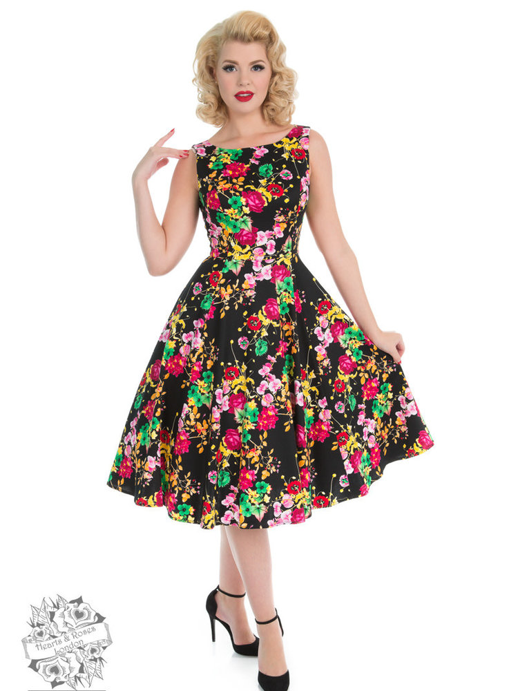 Hearts & Roses Black Vivid Dress