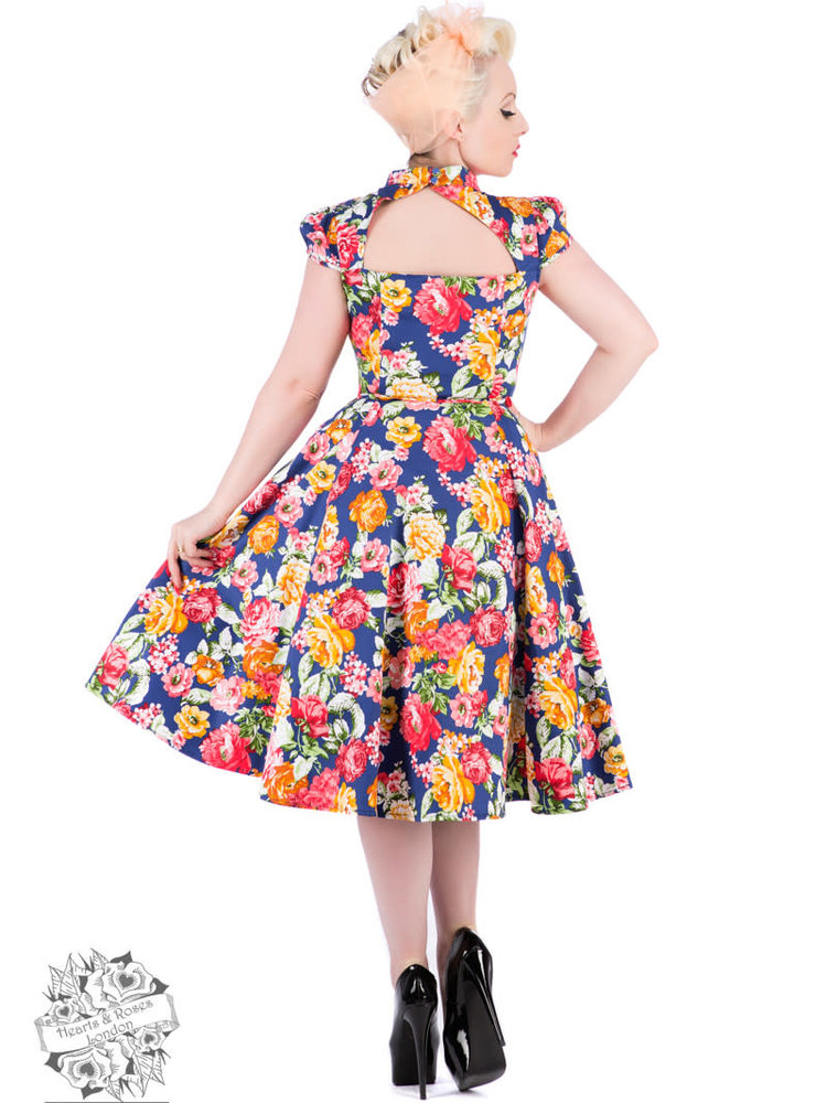Hearts & Roses Tropical Floral Swing Dress