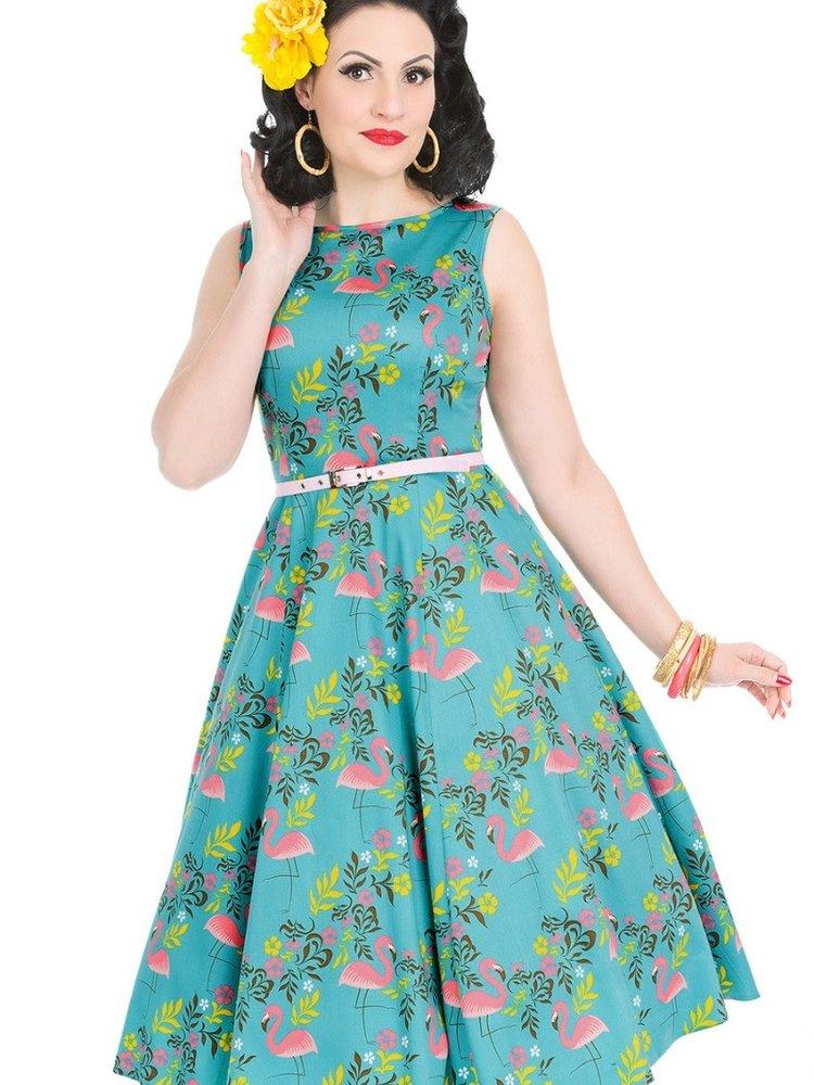 Lady V Hepburn dress - Flamingo Tropicana maat S