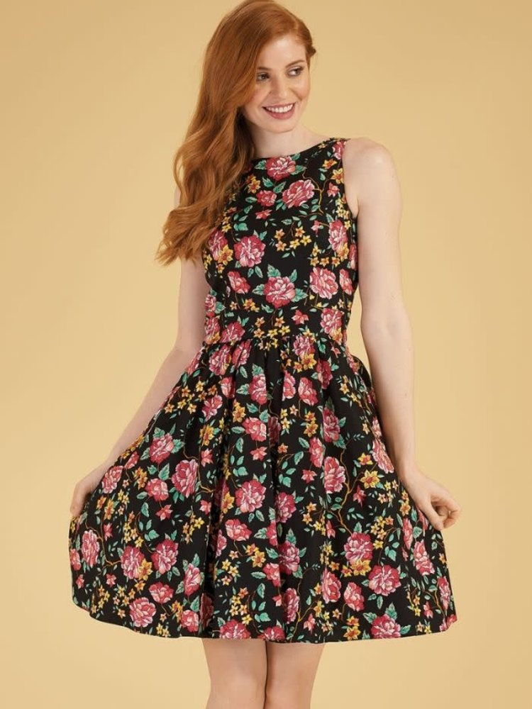 Lady V Tea Dress - Black Floral