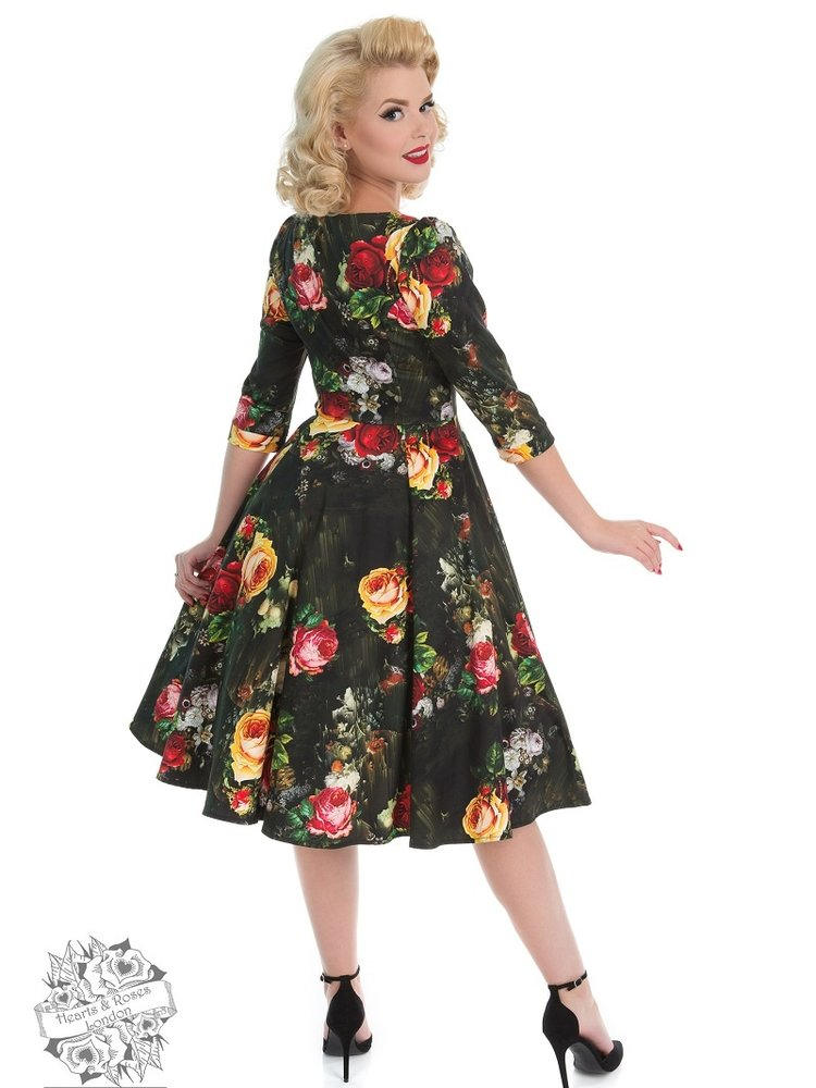 Hearts & Roses Striking Rose Swing Dress