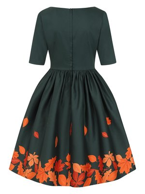 Collectif Amber-Lea Leaves Border Swing Dress
