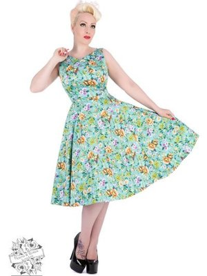 Hearts & Roses Turquoise Camillia Swing Dress