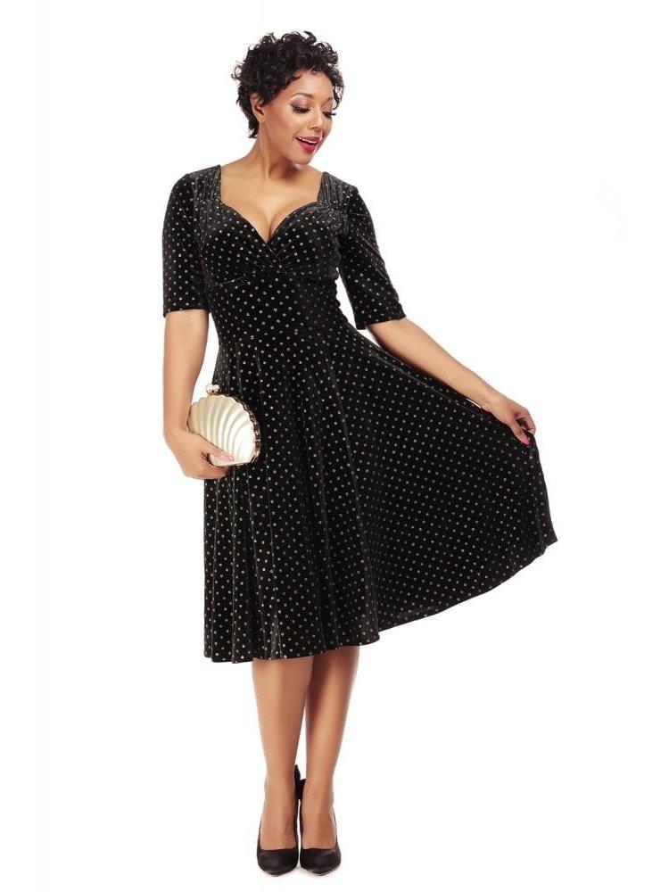 Collectif Trixie Golden Polka Velvet Swing Dress