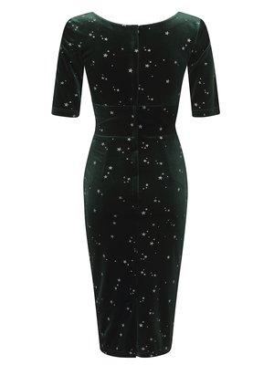 Collectif Trixie Glitter Star Velvet Pencil Dress