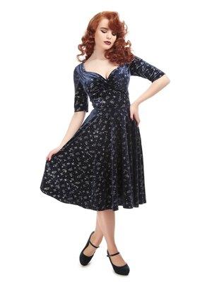 Collectif Trixie Velvet Sparkle Doll dress diepblauw