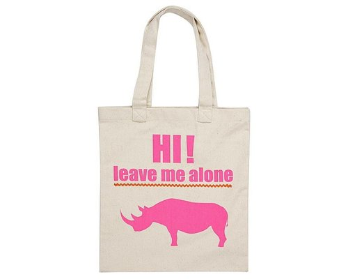 """Leave Me Alone"" Rhino Tote Bag - White"