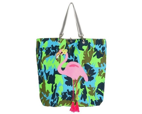 Funky Army Green Shopper - Flamingo