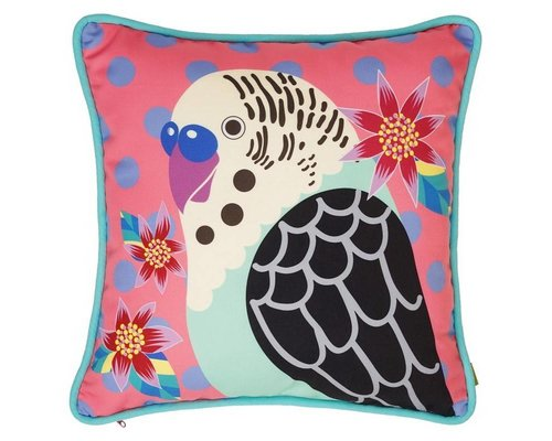 Singing with the Birds Cushion - Coral