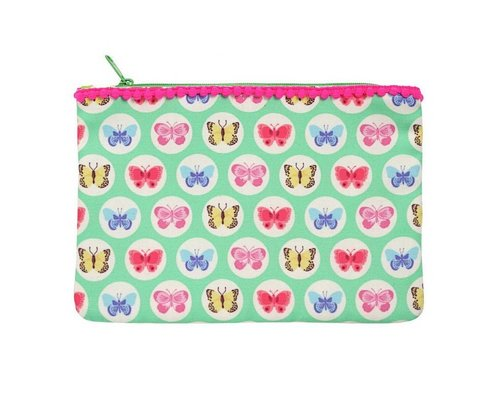 Happy Butterflies Zip Pouch - Green