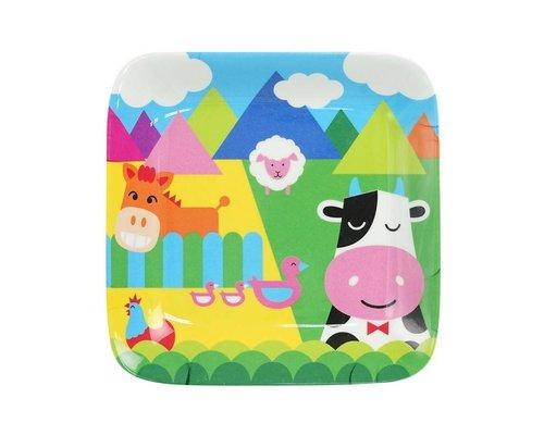 My Farm Kids Square Melamine Mini Plate