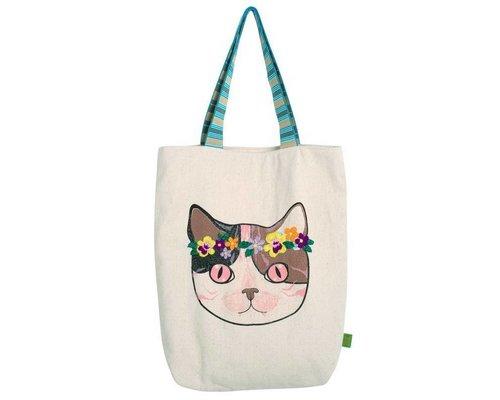 Cat Flower Power Tote Bag