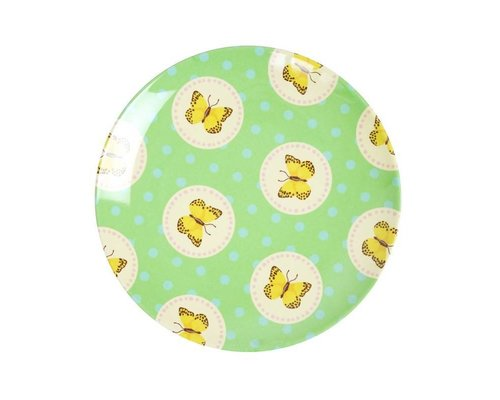 Happy Butterflies Small Melamine Plate - Green