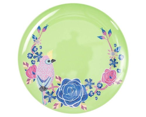 Singing with the Birds Melamine Dinner Plate - Green