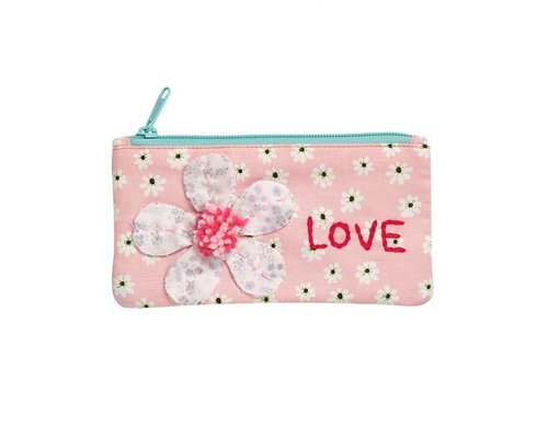 Peach Smiling Daisy Small Zip Pouch