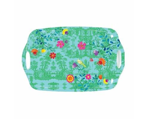 My Secret Garden Toile Medium Melamine Tray - Green