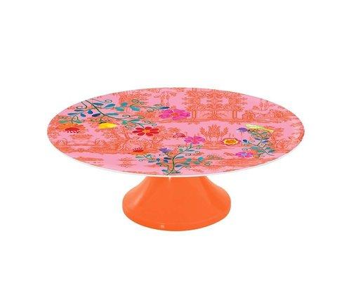 My Secret Garden Toile Melamine Cake Stand - Pink