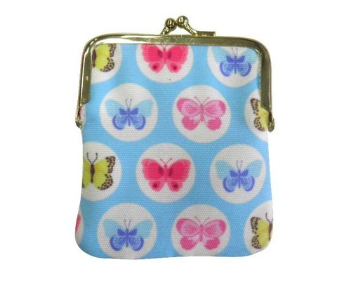 Happy Butterflies Clasp Purse - Blue