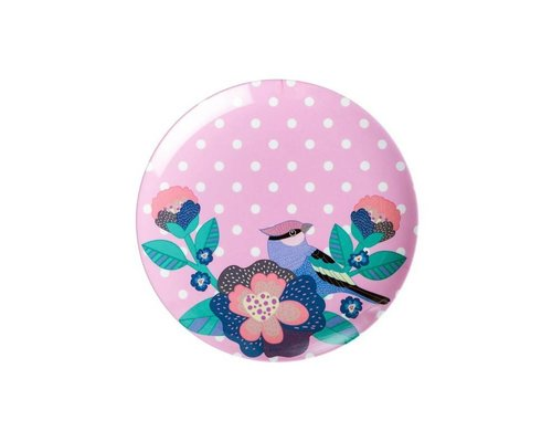 Singing with the Birds Small Melamine Plate - Pink