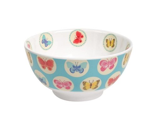 Happy Butterflies Medium Melamine Bowl - Blue