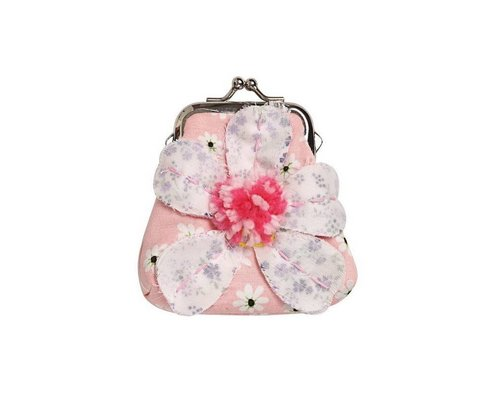 Peach Smiling Daisy Small Clasp Purse