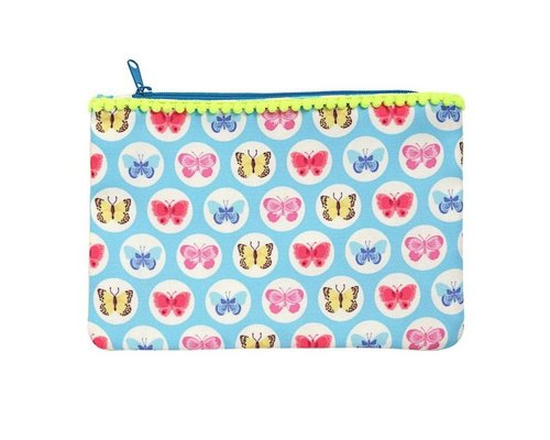 Happy Butterflies Zip Pouch  - Blue
