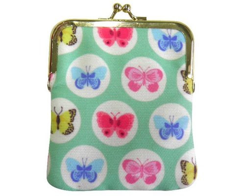 Happy Butterflies Clasp Purse - Green