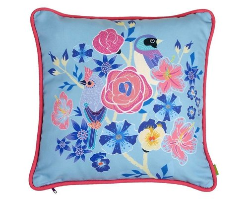 Singing with the Birds Cushion - Blue
