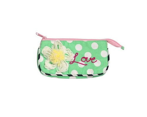 Dotty Soft Green Small Zip Pouch