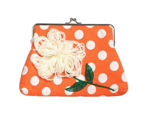 Coral Polka Dot Medium Clasp Clutch