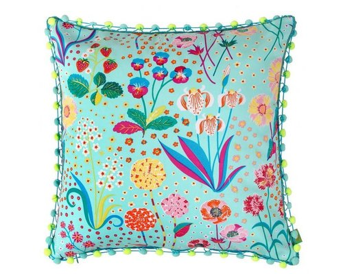 Oriental Blossom Cushion Pom Poms