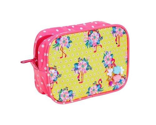 Pink Flamingos Toiletry Bag - Yellow