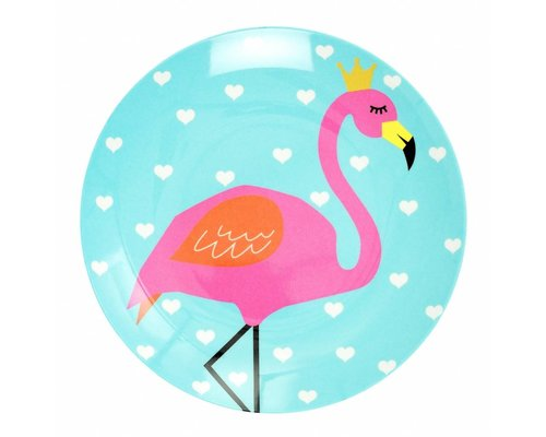 So Pretty Kids Melamine Lunch Plate - Flamingo