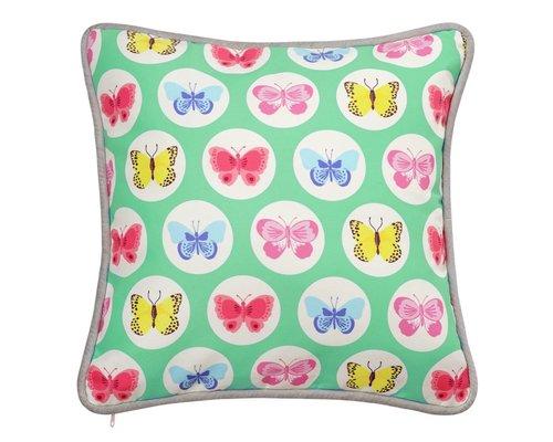 Happy Butterflies Cushion - Green