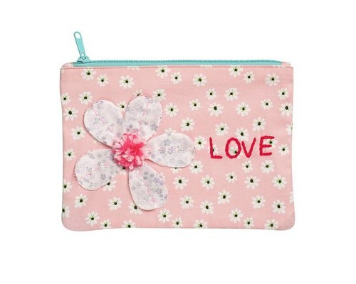 Peach Smiling Daisy Medium Zip Pouch