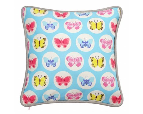 Happy Butterflies Cushion - Blue